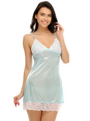 Clovia Satin  Lace Solid Nightsuit -NS0464P03
