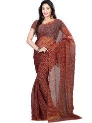Nanda Silk Mills Tissue Printed Saree - Red - BARCODE-FLOWER-RED