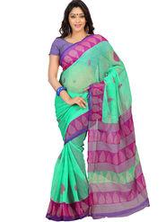 Nanda Silk Mills Georgette Printed Saree - Green - MOTI-MAHAL-02