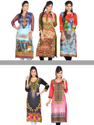 Nazneen Designer Digital Printed Readymade Kurta - Pack of 5