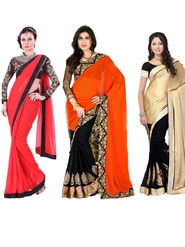 Combo of 3 Nanda Silk Mills Georgette Embroiderd Saree -Nikita Patel