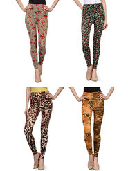 Pack of 4 Oleva Printed Cotton Lycra Jeggings -so01