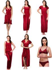 Set of 7 Oleva Satin Nightwear - Maroon