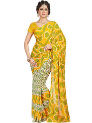 Shonaya Printed Dani Georgette Yellow & White Saree -Pdrsb-712
