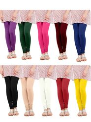 Pack of 10 Oh Fish Solid Pure Cotton Stretchable  Leggings -lgpk10