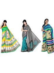 Combo of 3 Nanda Silk Mills Cotton Printed Saree -Pd-4017A