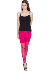 Yellow Tree Printed Net Pink Legging -os33
