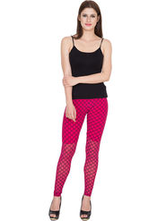Yellow Tree Printed Net Pink Legging -os32