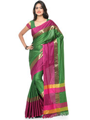 Nanda Silk Mills Handloom Green & Pink Plain Cotton Silk Saree -nad01
