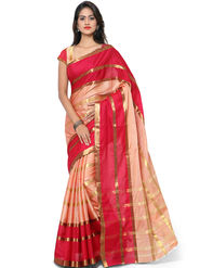 Nanda Silk Mills Handloom Pink & Being Plain Cotton Silk Saree -nad02