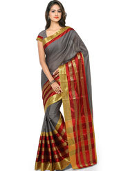 Nanda Silk Mills Handloom Grey & Maroon Plain Cotton Silk Saree -nad03