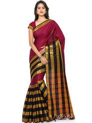Nanda Silk Mills Handloom Wine & Gold Plain Cotton Silk Saree -nad20