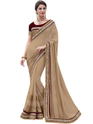 Indian Women Moss Chiffon  Saree -Ra10503