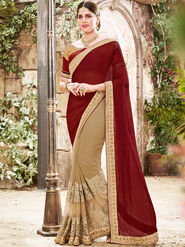 Indian Women Embroidered Georgette Maroon & Beige Saree -Ra21016