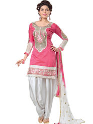 Regalia Ethnic Embroidered Cotton Semi stitched Pink Suit -Re05