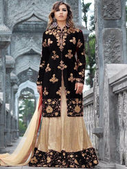 Regalia Ethnic Embroidered Black Tapeta Silk Semi Stitched Suit - REBLACK1001
