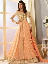 Regalia Ethnic Embroidered Orange Faux Georgette Semi Stitched Suit - REZ301