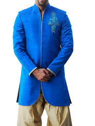 Runako Regular Fit Elegant Silk Brocade Sherwani For Men - Blue_RK1041