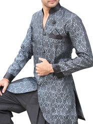 Runako Regular Fit Elegant Silk Brocade Sherwani For Men - Grey