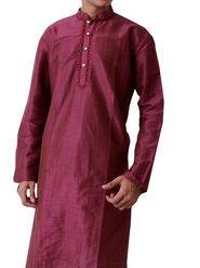 Runako Regular Fit Silk Brocade Kurta Pyjama For Men - Dark Purple