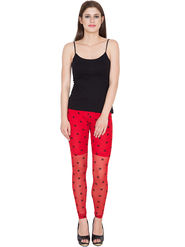 Yellow Tree Printed Net Red Legging -os39