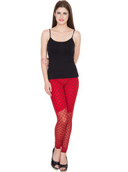Yellow Tree Printed Net Red Legging -os34