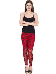 Yellow Tree Printed Net Red Legging -os36