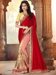 Viva N Diva Pure Satin & Net Floral Embroidery Saree -Riwaaz-Again-9009
