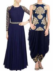 Style Amaze Georgette Semi-Sttiched Blue -SASUNDAY-1009,1037