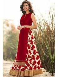 Style Amaze Printed Bhagalpuri Silk Red Lehanga Choli -Sasunday-1082