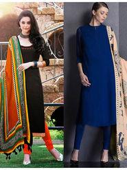Pack of 2 Style Amaze Cotton  UnSttiched Blue & Black -SASUNDAY-1085,56
