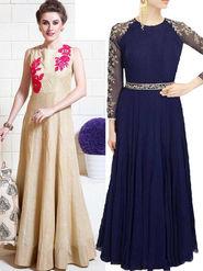 Pack of 2 Style Amaze Banglori Silk Semi-Sttiched Beige & Blue -SASUNDAY-1203,BLUE BERRY