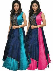 Pack of 2 Style Amaze Taffeta Semi-Sttiched Turquoise&Pink -SASUNDAY-1307-1306