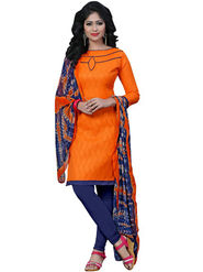 Regalia Ethnic Plain Cotton Unstitched Orange Dress Material -Sh-02