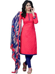 Regalia Ethnic Plain Cotton Unstitched Pink Dress Material -Sh-03