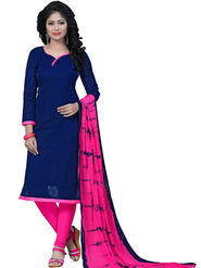 Regalia Ethnic Plain Cotton Unstitched Blue Dress Material -Sh-04