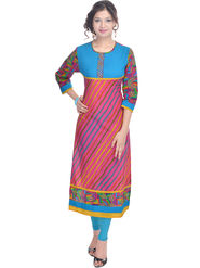 Shop Rajasthan Printed Cotton Long Straight Kurti -Sre2234