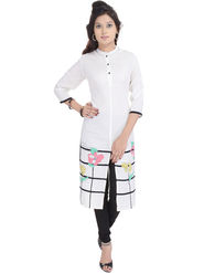 Shop Rajasthan Printed Rayon Long Straight Kurti -Sre2460