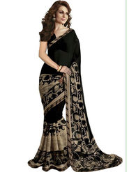 Regalia Ethnic Printed Bhagalpuri Black Saree -Ssre01