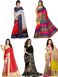 Combo of 5 Regalia Ethnic Printed Bhagalpuri Multicolor Sarees -Ssre103