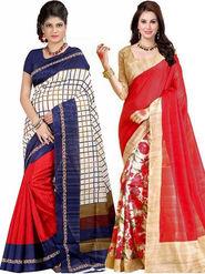 Combo of 2 Regalia Ethnic Printed Bhagalpuri Multicolor Sarees -Ssre104