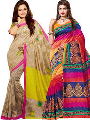 Combo of 2 Regalia Ethnic Printed Bhagalpuri Multicolor Sarees -Ssre105