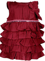 ShopperTree Maroon Ruffled Dress_ST-1378