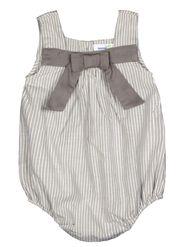 ShopperTree Stripped Grey Yarn Dyed Cotton Stripe Romper-ST-1724