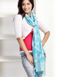 Aapno Rajasthan Pashmina  Turquoise Blue Shawl -St1114