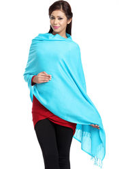 Aapno Rajasthan Pashmina  Aqua Blue Shawl -St1414