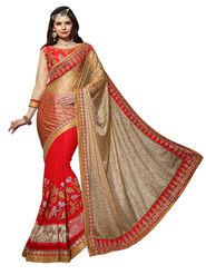 Khushali Fashion Georgette Russell Embroidered & Embellished Saree -Stpnhr10005