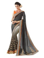 Khushali Fashion Embroidered Georgette Half & Half Saree_KF59