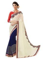 Khushali Fashion Embroidered Georgette Half & Half Saree_KF73