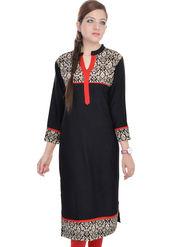 Shop Rajasthan 100% Pure Cotton Printed Kurti - Black - SRE2309